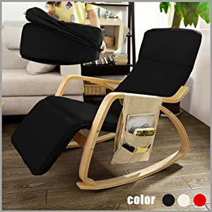 SoBuy Comfortable Relax Rocking Chair with Foot Rest Design, Lounge Chair, Recliners Poly cotton Fabric Cushion with Side Storage Bag, FST16 SCH,Black Color       Customer reviews