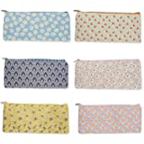 Pencil Pouch and Pencil Bag Organizers - Cute Pencil Pouch for Students or Travel Cosmetic Makeup Bag for Women - Set of 6 Assorted Colorful Flower Designs for Home and Office, 9 x 4 x 0.25 inches (Color: Multi)