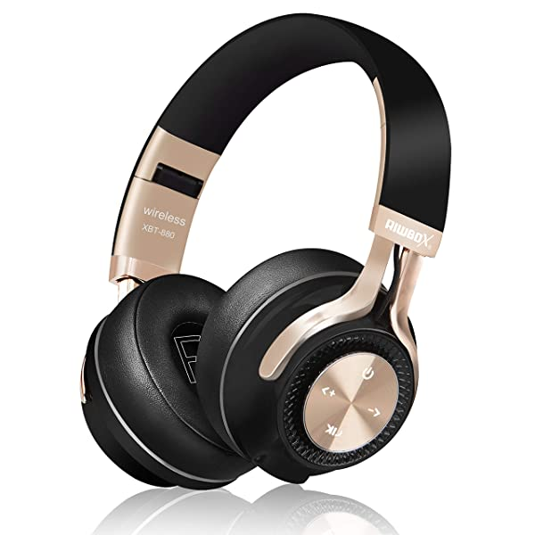 Bluetooth Headphones, Riwbox XBT-880 Wireless Bluetooth Headphones Over Ear with Microphone and Volume Control Wireless and Wired Foldable Headset for