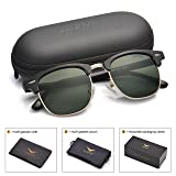LUENX Men Clubmaster Polarized Sunglasses Women UV 400 Protection Grey Lens Black Retro Classic Frame 51MM,with Case (Color: 17-grey(glossy Frame)/Non-mirror, Tamaño: 51MM)