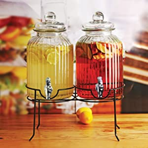 Punch /& Iced Tea Dopier 1.3//2.6 Gallon Circleware 66916 Double Beverage Dispensers with Stand and Spigot Fun Party New Entertainment Home Kitchen Glassware Cold Drink Pitcher for Water
