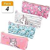 SATINIOR 4 Pieces Unicorn Pencil Bags Cute Unicorn Pencil Pouch Purse School Supplies for Boys Girls, 4 Colors