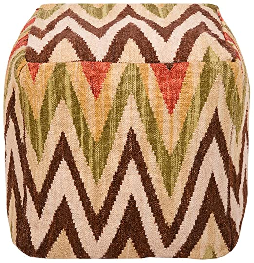 "Surya POUF-32 Hand Made 80% Wool / 20% Cotton Brown 18"" x 18"" x 18"" Pouf"
