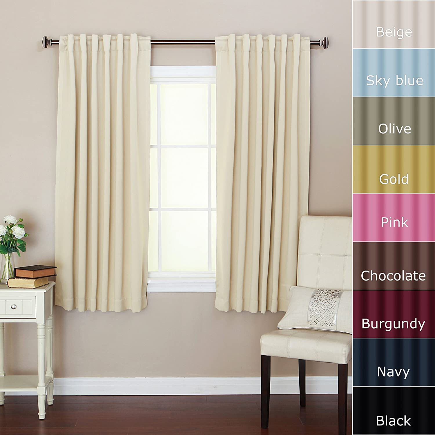 "Solid Thermal Insulated Back Tap Blackout Curtain 52""W X"