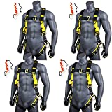 KwikSafety (Charlotte, NC) SUPERCELL (4 PACK) ANSI OSHA Full Body Personal Fall Protection Safety Harness Dorsal Ring Side D-Rings Grommet Tongue Buckle Straps Tool Lanyard Construction Tower Roofing (Color: Harness + Harness + Harness + Harness + Tool Lanyard + Tool Lanyard + Tool Lanyard + Tool Lanyard, Tamaño: 4 PACK (SAVE $15))