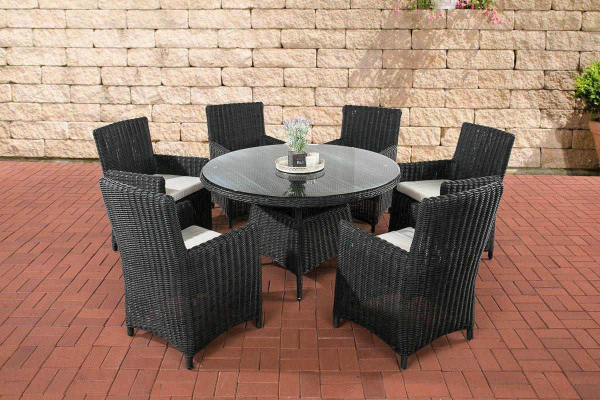 CLP Polyrattan Sitzgruppe LARINO schwarz (6 Sessel + Tisch 130x130 cm) INKL. bequeme Sitzkissen, Premiumqualität: 5mm Rund-Rattan schwarz, Bezugfarbe creme