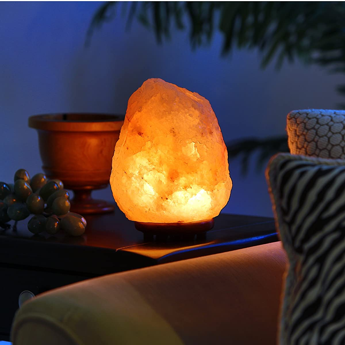 Natural Himalayan Hand Carved Salt Lamp With Indian Rosewood Base Bulb And Dimmer Control