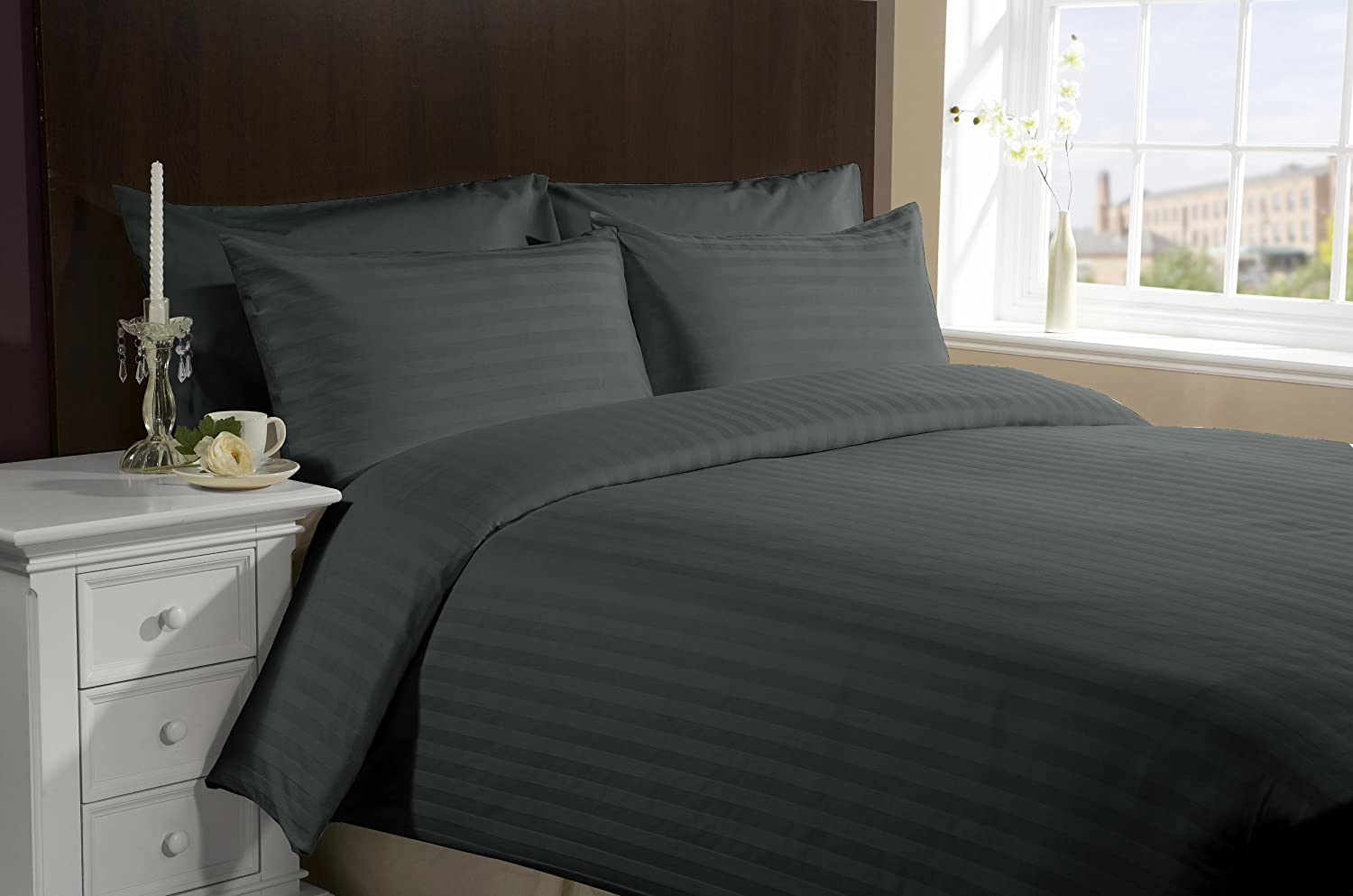 LACASA BEDDING 800 TC Egyptian cotton Sheet set with Duvet set Italian Finish Stripe ( Queen , Elepahant Grey )