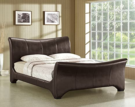 Time Living 6ft Super King Size Bed Brown Faux Leather - Wave Bed Frame Only