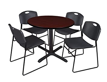 Regency Seating 36-Inch Round Mahogany Laminate Table with Cain Base and 4 Black Zeng Stack Chairs