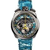 Bomberg Men's Bolt 68 45mm Multicolor Leather Band Ip Steel Case Quartz Analog Watch 45CHPGM.035.3 (Color: Multicolour)