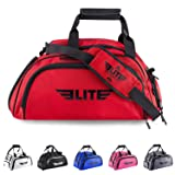 Elite Sports Warrior Boxing MMA BJJ Gear Gym Duffel Backpack Bag with Shoe Compartment (Color: Red, Tamaño: Large)