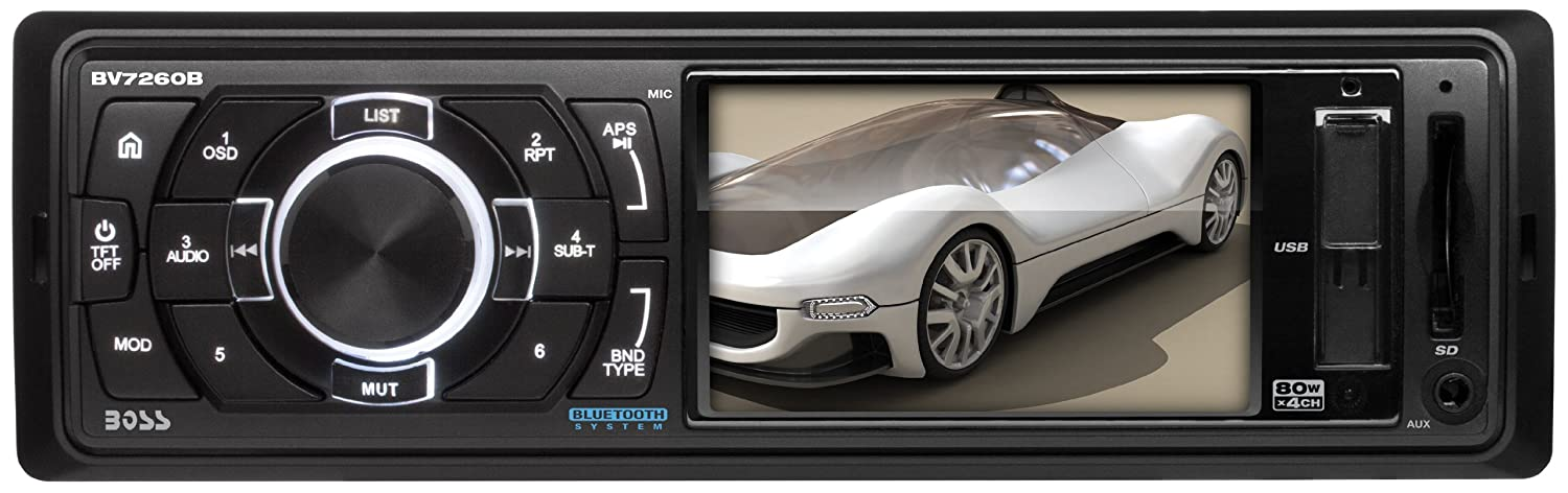 BOSS Audio BV7260B In-Dash Single-Din 3.2-inch Screen USB/SD/MP4/MP3 Player Receiver Bluetooth Streaming Bluetooth Hands-free with Remote
