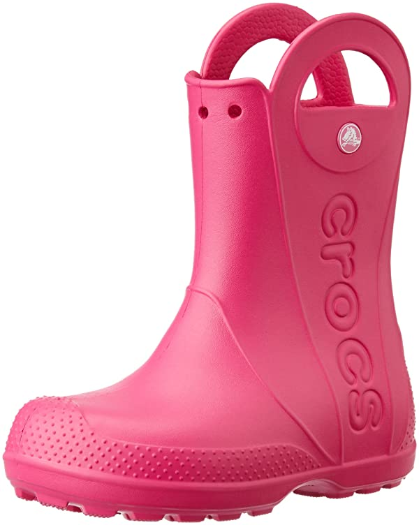 CROCS Handle It Kids Roomy Fit Candy Pink Rain Boot Size 8