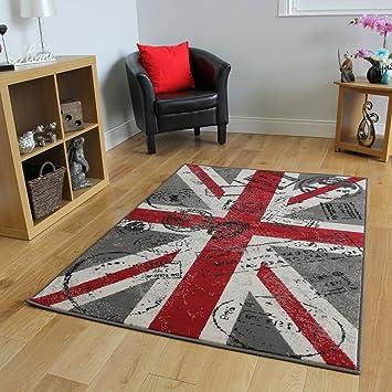 milan tapis imprim imprim union jack r tro rouge gris et blanc cass cass 1878 w55 2. Black Bedroom Furniture Sets. Home Design Ideas