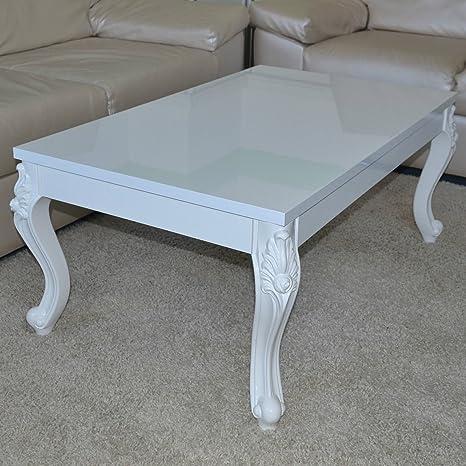 Euro Tische Couchtisch 120x70x44 cm, Weiß lackiert Hochglanz, Wohnzimmer-Tisch Sofatisch Beistelltisch, Antik Barock Vintage Orientalisch Ziertisch Loungetisch, Rechteck, C155