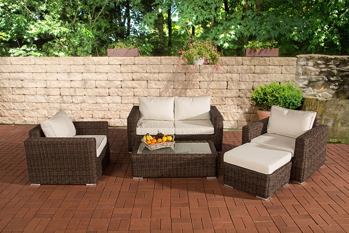 CLP Polyrattan Gartengarnitur MADEIRA 2-1-1 braun-meliert, inkl. Sitz- und Rückenpolster, aus bis zu 5 Bezugsfarben wählen braun-meliert, Bezugfarbe creme günstig kaufen