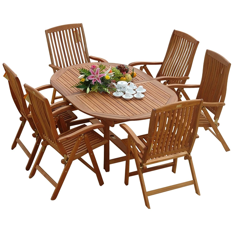 indoba® IND-70010-SFSE7 – Serie Sun Flair – Gartenmöbel Set 7-teilig aus Holz FSC zertifiziert – 6 klappbare Gartenstühle + ausziehbarer Gartentisch jetzt kaufen