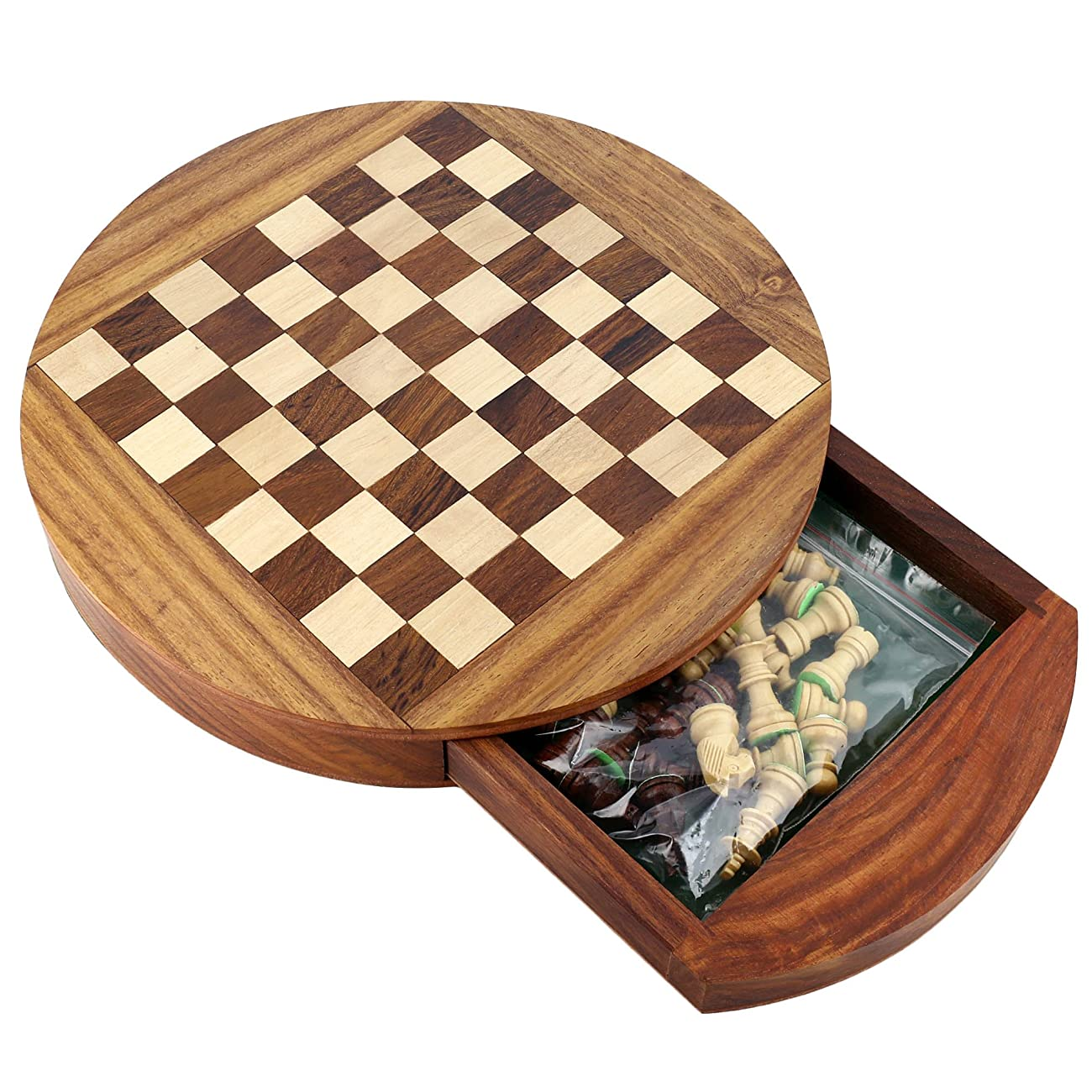 Unique Compact Box Magnetic Round Wooden Chess Board And Pieces Set Gift For Kids Adults 6