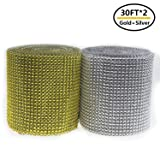 Bling Rhinestone Diamond Mesh Ribbon Wrap,Storystore Silver Acrylic Bling Diamond Wrap Ribbon for Wedding, Cake, Vase Decorations, Party Supplies(2 Roll x 10 Yards)(Silver and Gold) (Color: Gold-silver)