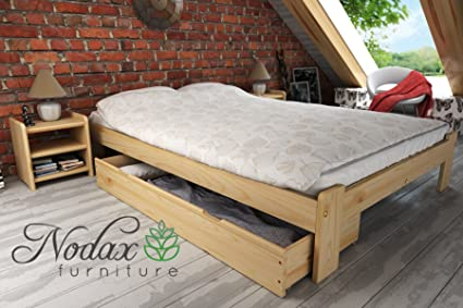 """F15"" Set No.3 Wooden Pine Bedframe, Underbed Storage Drawer 150cm, 2xBedside Units (150 x 200 cm, pine)"