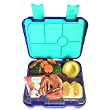 Abovego - 6-Compartments-Bento Box for Kids & Adults- BPA Free- Leak-Proof with Friendly Latches - Ideal for Portion-Control, Meal Prep and Healthy Balance Diet (Blue) (Color: Blue)