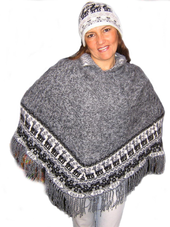 Alpacaandmore Damen Peru Poncho Set mit Muetze Alpakawolle Grau Einheitsgroesse jetzt kaufen