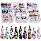 30 Color Nail Foil Transfer Sticker, Kissbuty Flower Nail Art Stickers Tips Wraps Foil Transfer Adhesive Glitters Acrylic DIY Nail Decoration, 3 Boxes (Flowers Starry Sky) (Color: Flowers Starry Sky)