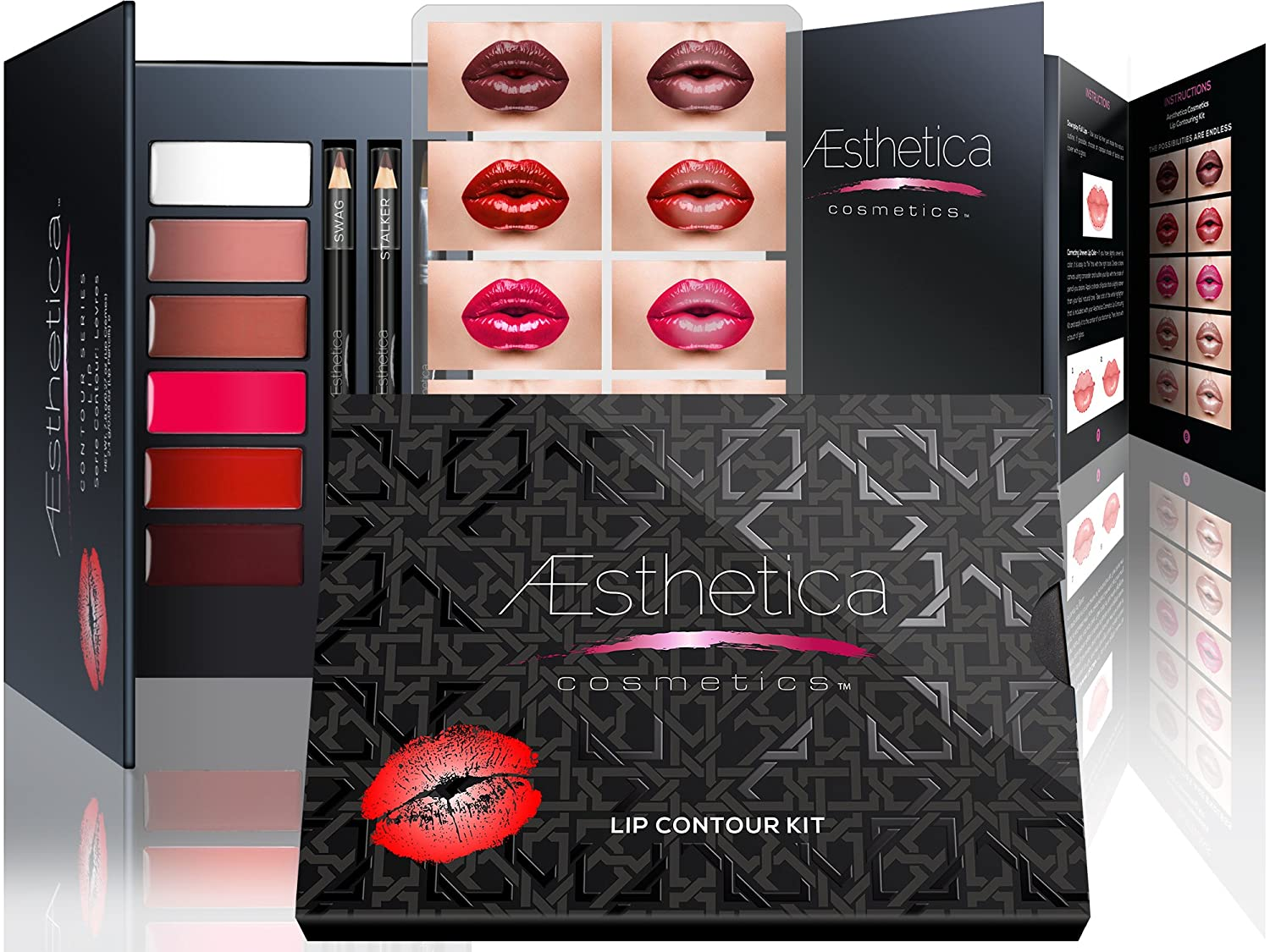 Aesthetica Cosmetics Lip Contour Kit - Cream Contouring and Highlighting Lipstick Palette Set - Includes Six Lip Crèmes, Four Lip Liners, Lip Brush and Step-by-Step Instructions - Vegan & Cruelty Free