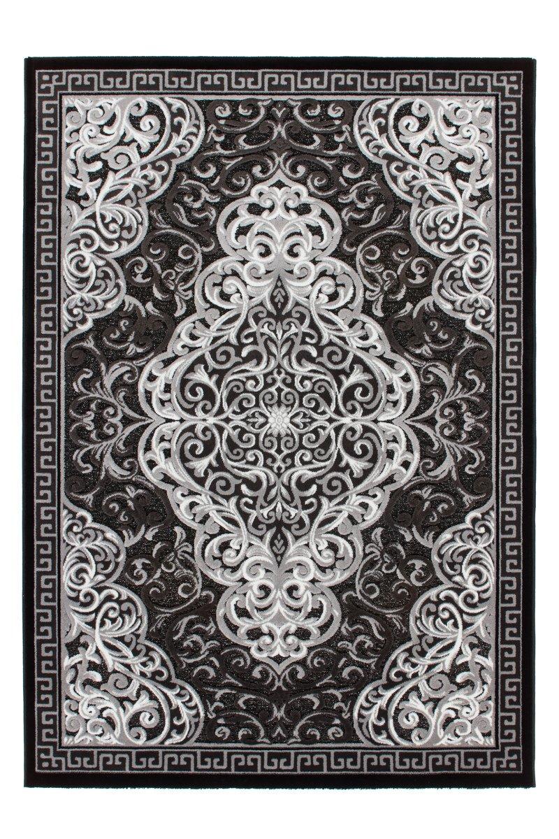 Lalee 347249374 Schöner, klasssischer Designer Teppich mit Lurex Garn, 3D Effekt!, 80 x 150 cm, schwarz / silber günstig bestellen