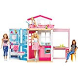 Barbie 2-Story House with Furniture & Accessories (Color: Pink, Tamaño: n.a.)