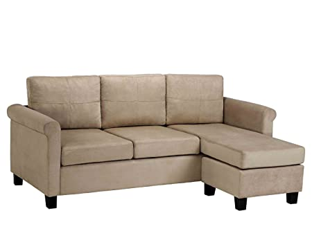Dorel Asia Versatile Small Spaces Sectional Sofa, Taupe