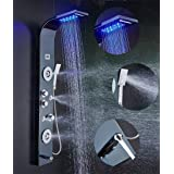 ELLO&ALLO Stainless Steel Shower Panel Tower System,LED Rainfall Waterfall Shower Head 6-Function Faucet Rain Massage System with Body Jets Fingerprint-free, Black