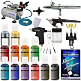 Master Pro Airbrush Cake Decorating Set with 12 Chefmaster Airbrush Cake color set that are FDA approved - 3 Airbrush Kit – TC20 Compressor - Air Filter/Regulator – 3-6' Air Hose –Multi-Airbrush Holder – Master G25 Gravity Feed Dual Action Master Airbrushes and Master G70 and E91 Suction Master Feed Airbrushes and a (FREE) How to Airbrush Instructional Guidebook