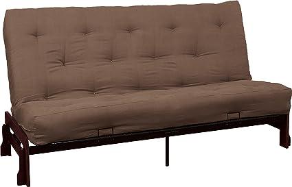 Epic Furnishings 10-Inch Bali Loft Innerspring Microfiber Suede Futon Sofa Sleeper Bed, Queen, Mahogany Frame, Suede Mocha Brown Upholstery