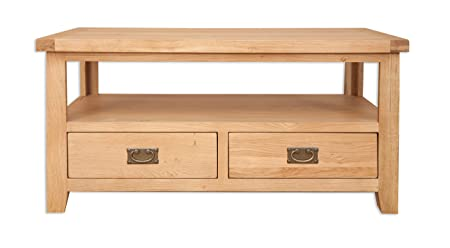 Melbourne Natural Living Golden Oak Coffee Table Tv Table With Draws (Oaklands Furniture)
