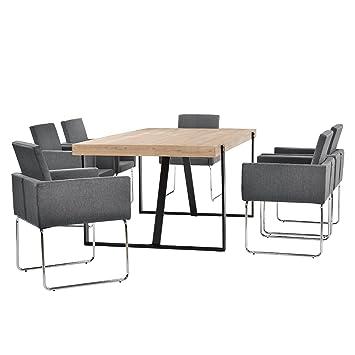 [en.casa] Esstisch Eiche-hell mit 6 Stuhlen dunkelgrau (82,5cmx54cm)