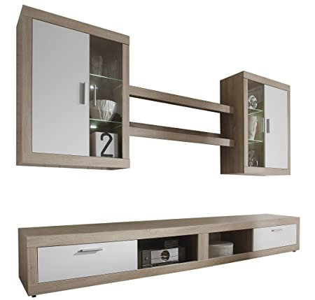 Furnline Ocean Canadian Oak White TV Stand Wall Unit Living Room Furniture Set, Brown