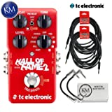 TC Electronic Hall of Fame 2 Reverb Pedal + (2) Instrument Cables + (2) Patch Cables + K&M Cloth (Color: Cables Bundle, Tamaño: Hall of Fame 2)