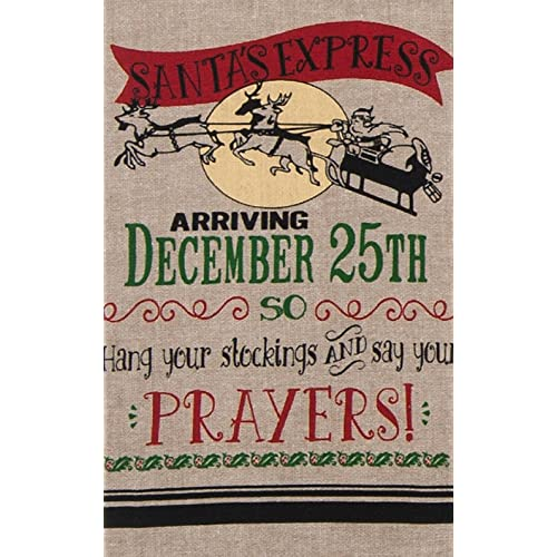 SANTAS EXPRESS Sleigh & Reindeer Chambray Christmas Tea Towel - Kay Dee Designs