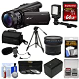 Sony Handycam FDR-AX100 Wi-Fi 4K HD Video Camera Camcorder with 64GB Card + Case + LED Light + Battery + Mic + Tripod + Fisheye Lens + Kit (Color: Black)