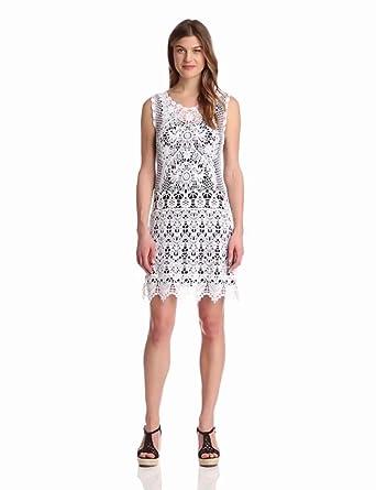 Karen Kane Women's Crochet Dress, White, X-Small
