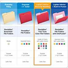 Pendaflex Two-Tone Color File Folders, Letter Size, 1/3 Cut, Blue, 100 per Box (152 1/3 BLU)