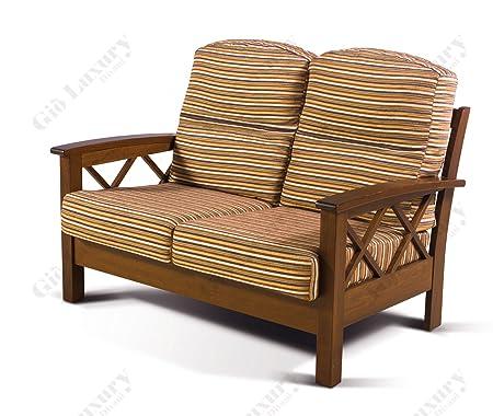 "Sofà de 2 plazas ""Helsinki Arte povera"" con marco de madera maciza, desmontable - 100% Made in Italy"