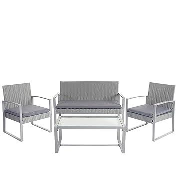 2-1-1 Poly-Rattan Garten-Garnitur Siana, Sitzgruppe incl. Kissen, extra breite Sitze ~ grau