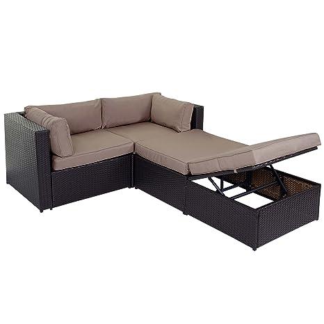 Poly-Rattan-Garnitur Adana, Gartengarnitur Sitzgruppe Lounge-Set, Alu ~ braun, Kissen beige