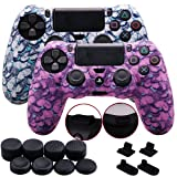 9CDeer 2 Pieces of Silicone Water Transfer Protective Sleeve Case Cover Skin + 8 Thumb Grips Analog Caps + 2 sets of dust proof plug for PS4/Slim/Pro Controller, Butterfly White & Pink (Color: Butterfly White & Pink, Tamaño: water print pack)
