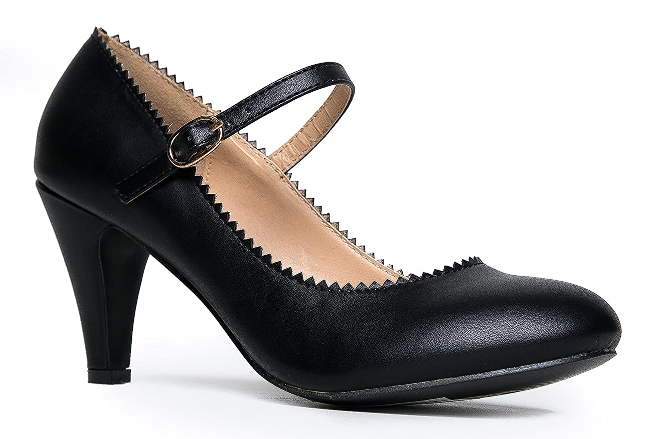 Mary Jane Kitten Heels – Vintage Retro Scallop Round Toe Shoe With An Adjustable Strap - Honey By J. Adams 0