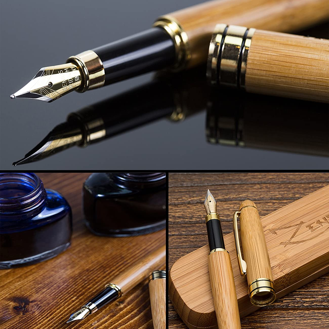 Fountain Pen Writing Set Case 100% Handcrafted Bamboo Vintage Collection with Ink Refill Converter - You Get Best Signature Calligraphy Antique Executive Business Gift Pens - 100% Quality Guarantee 4