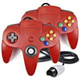 2 Pack N64 Controller, iNNEXT Classic Wired N64 64-bit Gamepad Joystick for Ultra 64 Video Game Console N64 System Mario Kart (Red) (Color: Red)